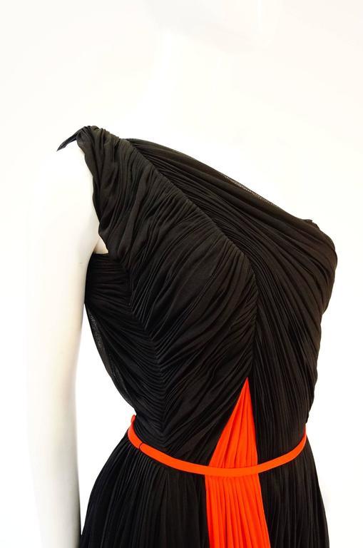 Important 1940s Madame Grès Grecian Goddess Silk Knit Gown in Black and Red For Sale 1