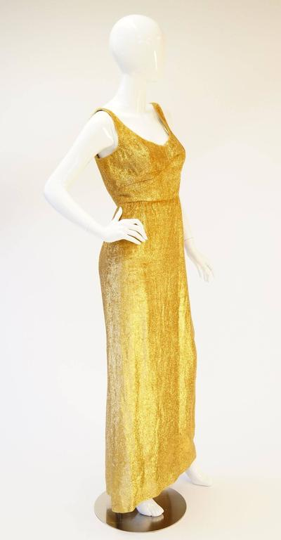 54f6eb8e74e3 Rare 1960s Norman Hartnell Gold Lame and Mink Dress and Coat For Sale 2