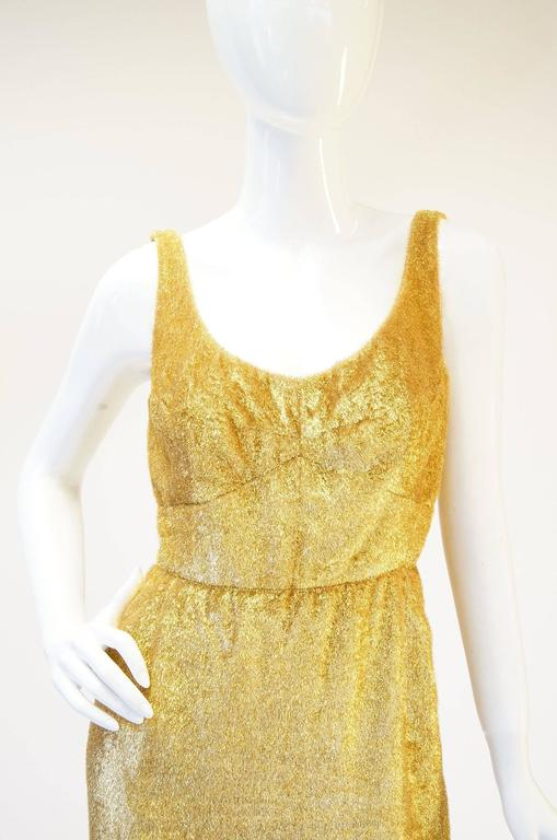 a252e4407e52 Rare 1960s Norman Hartnell Gold Lame and Mink Dress and Coat In Good  Condition For Sale
