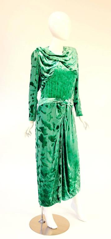 Vintage Galanos Green Crushed Velvet Evening Dress 3