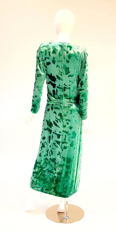 Vintage Galanos Green Crushed Velvet Evening Dress 7