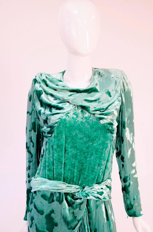 Vintage Galanos Green Crushed Velvet Evening Dress 2