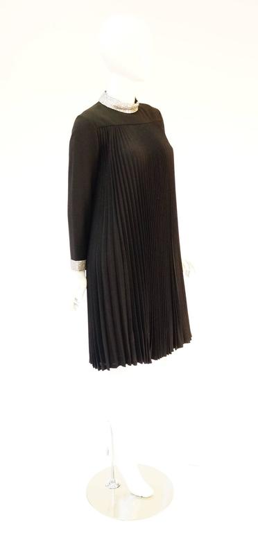 1960s Teal Traina Black Pleated Dress with Rhinestone Collar and Cuffs In Excellent Condition For Sale In Houston, TX