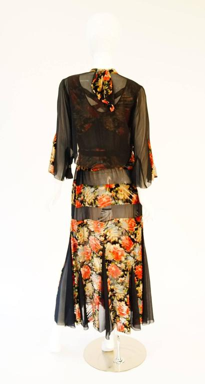 Women's 1920's Museum Piece Silk and Sheer Panel Floral Fluted Dress  For Sale