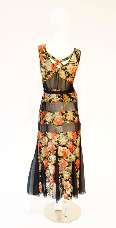 1920's Museum Piece Silk and Sheer Panel Floral Fluted Dress  8