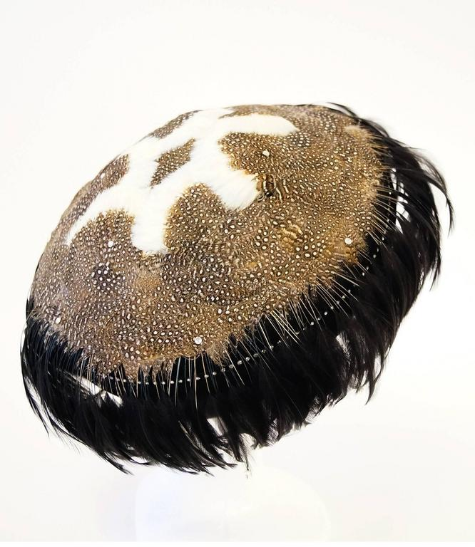 Black 1950s Jack McConnell Guinea Fowl Feather and Rhinestone Hat For Sale
