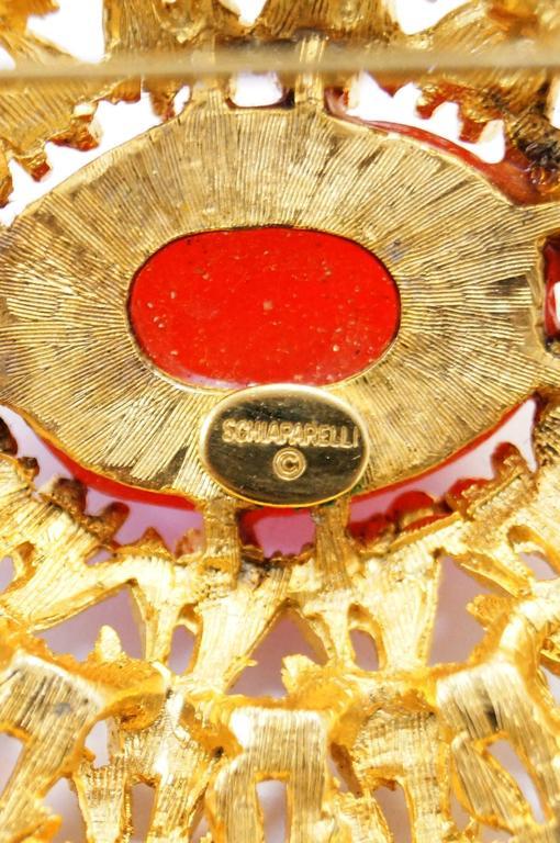 Vintage Schiaparelli Sunburst Vermillion Brooch 5