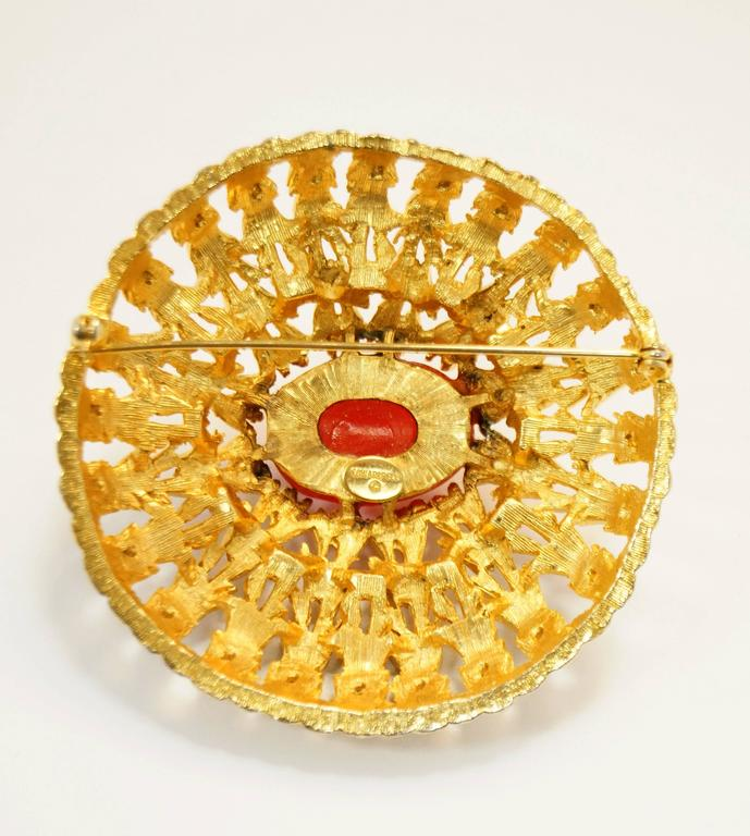 Vintage Schiaparelli Sunburst Vermillion Brooch 4