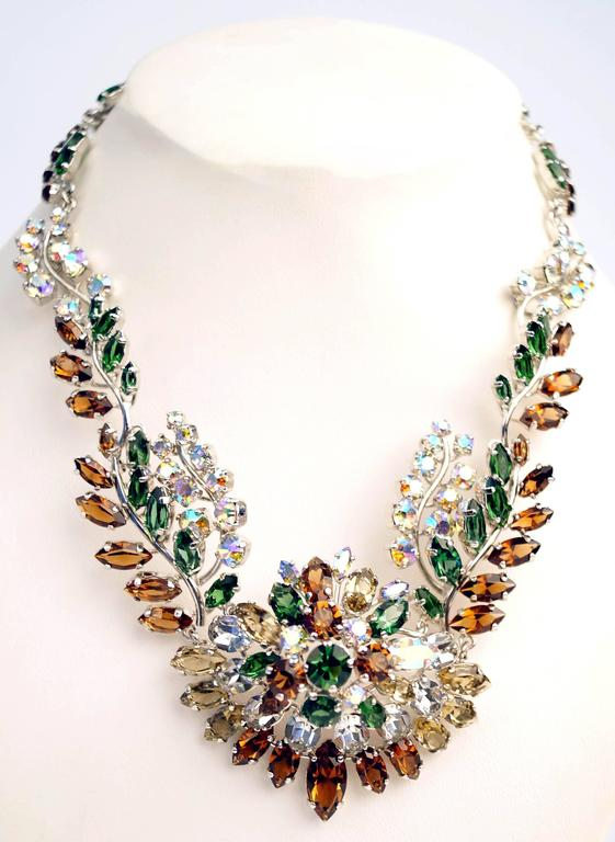 1958 Christian Dior Haute Couture Floral Rhinestone Necklace 2