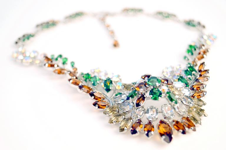 1958 Christian Dior Haute Couture Floral Rhinestone Necklace 4