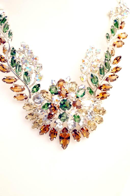 1958 Christian Dior Haute Couture Floral Rhinestone Necklace 3