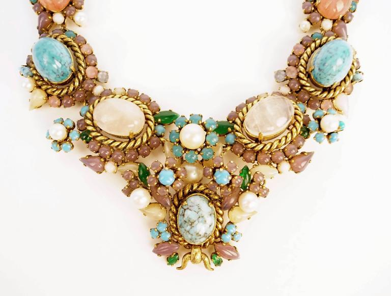 1960s Dior Haute Couture Made in Germany Pastel Cabochon Necklace In Excellent Condition For Sale In Houston, TX