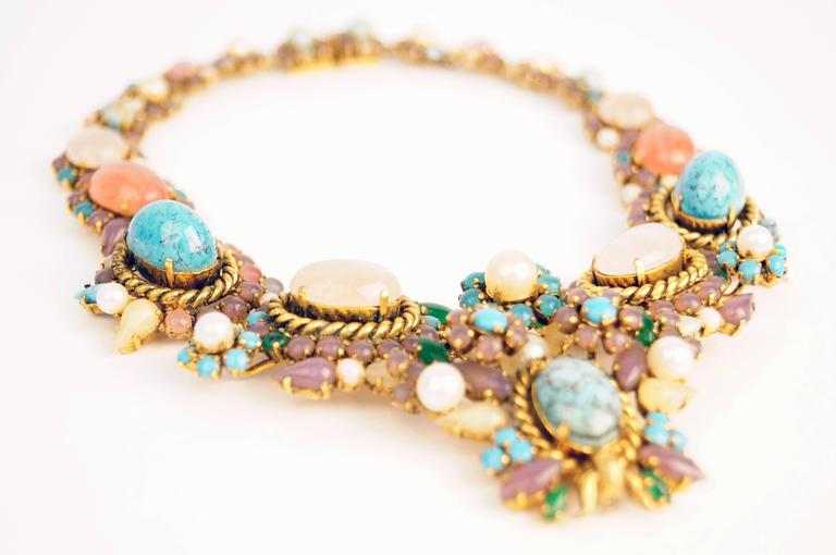 Women's 1960s Dior Haute Couture Made in Germany Pastel Cabochon Necklace For Sale