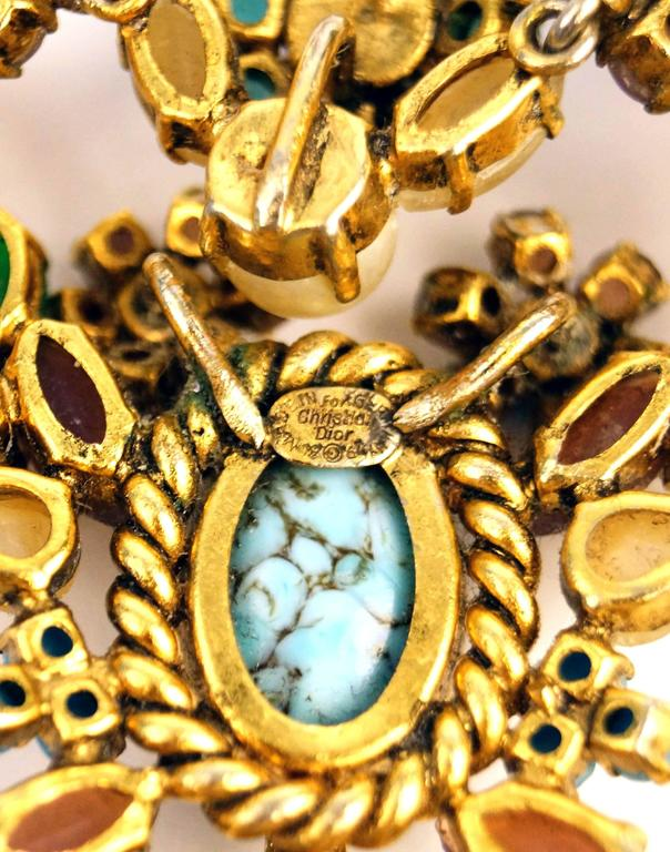1960s Dior Haute Couture Made in Germany Pastel Cabochon Necklace For Sale 1