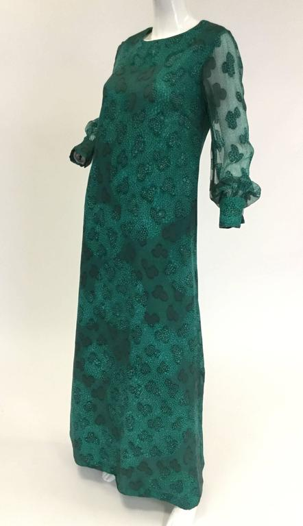 1970s Esther Wolf Green Organic Print Maxi Dress In Excellent Condition For Sale In Houston, TX