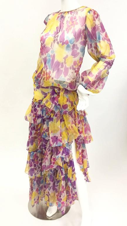 Brown 1990s Oscar de la Renta Sheer Floral Ensemble For Sale