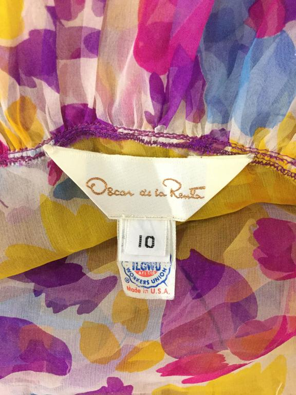Women's 1990s Oscar de la Renta Sheer Floral Ensemble For Sale