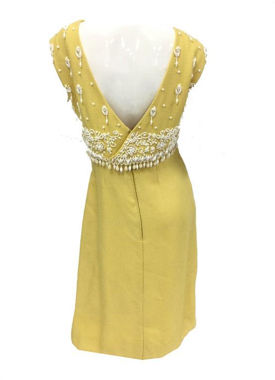 Women's 1960s Harvey Berin Sunshine Yellow Beaded Shift For Sale