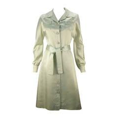 1970s Malcolm Starr Mint Green Button Down Dress