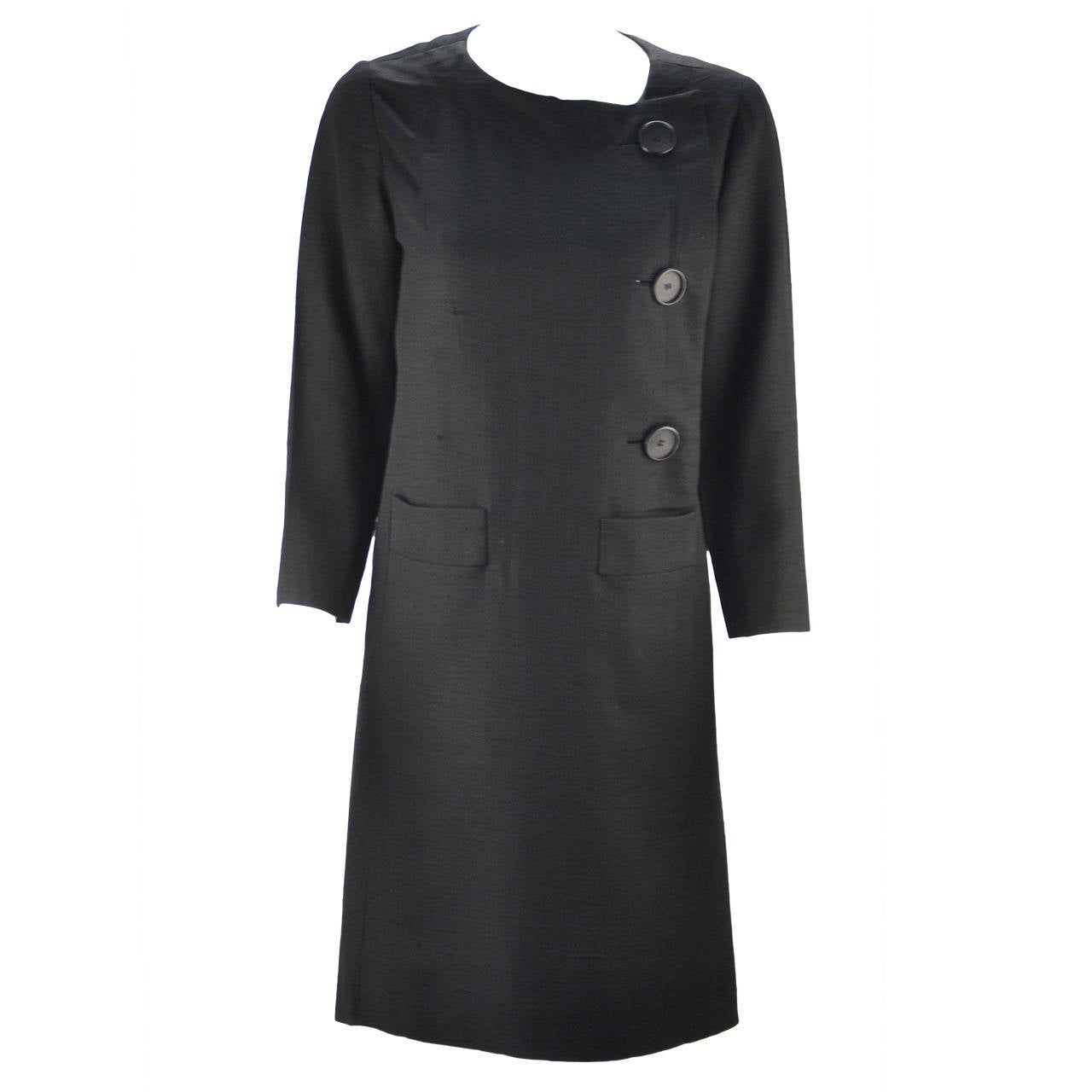 1960s Pierre Cardin Black Linen Dress for Takashimaya For Sale at ...
