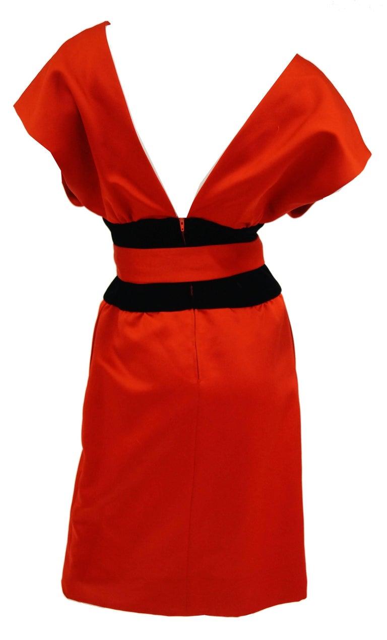 1980s Estevez Poppy Red Kimono-Inspired Satin Cocktail Dress at 1stdibs