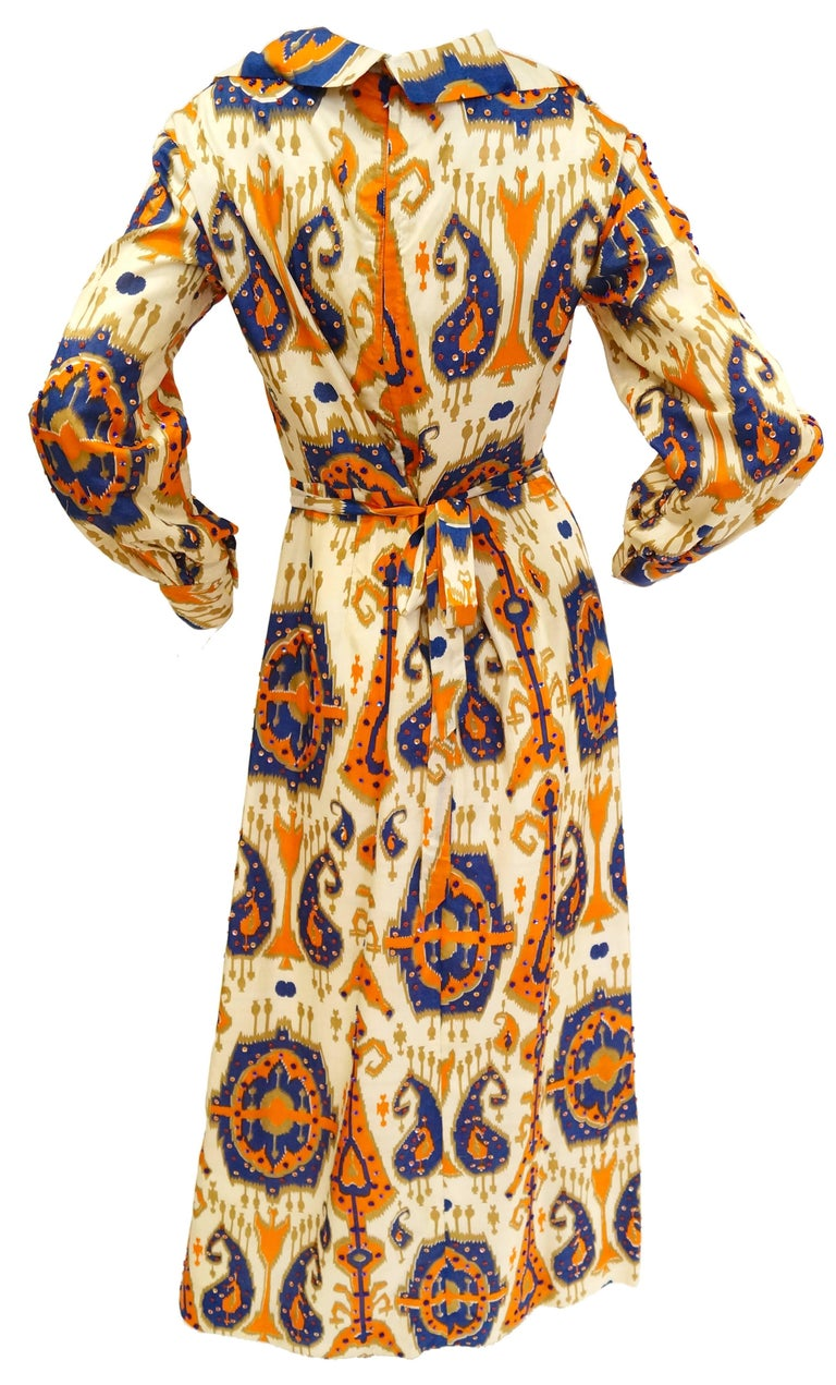 Orange Paisley Ikat Silk Beaded and Sequin Hostess Dress, 1970s  For Sale
