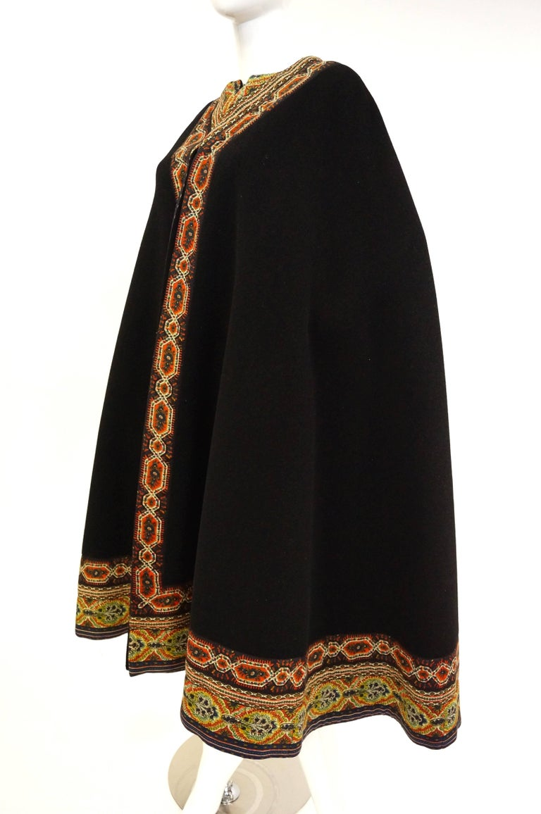 1960s Oscar de La Renta Bohemian Trim Wool Cloak  In Excellent Condition For Sale In Houston, TX