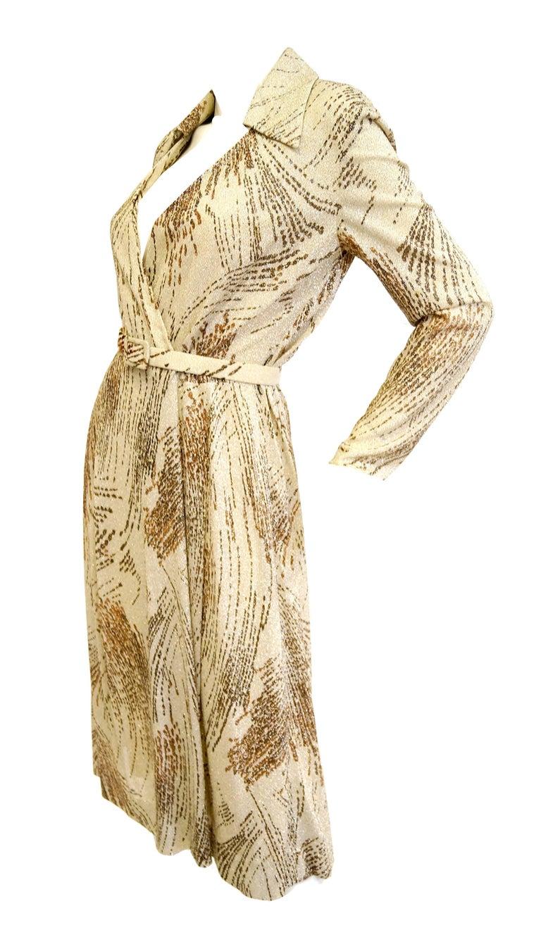 1970s Adele Simpson Metallic Star Trail Dress 2