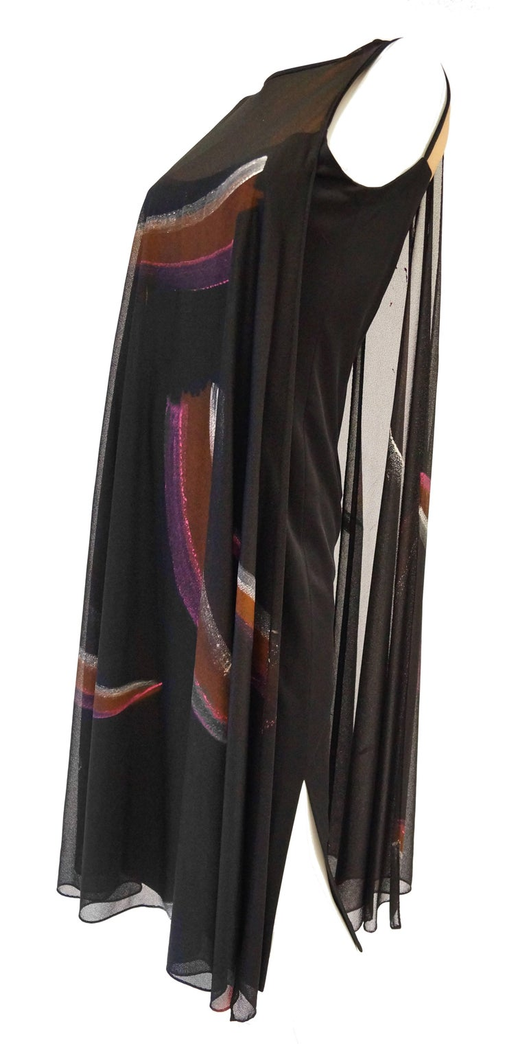 Black Early 1970s Lilli Diamond Hand Painted Brushstroke & Flutter Cocktail Dress For Sale