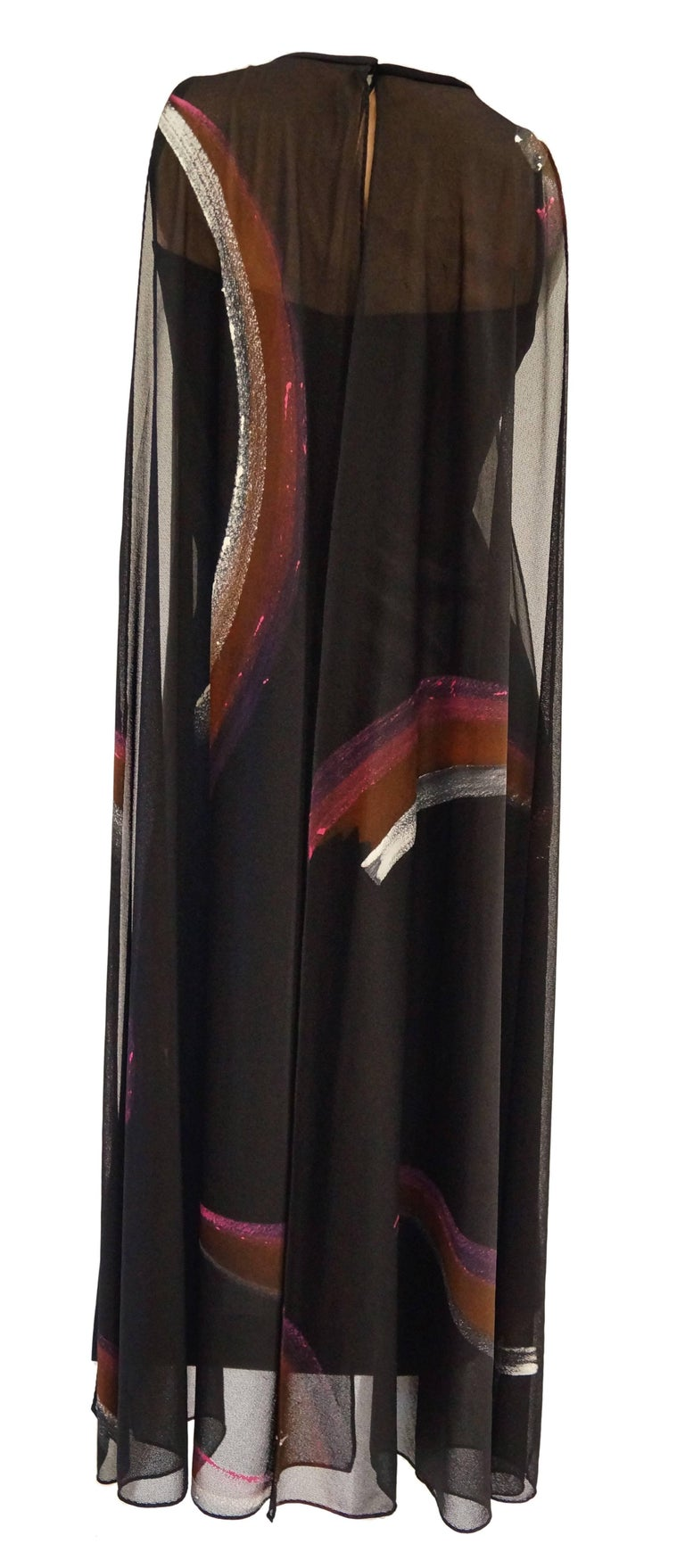 Early 1970s Lilli Diamond Hand Painted Brushstroke & Flutter Cocktail Dress In Excellent Condition For Sale In Houston, TX