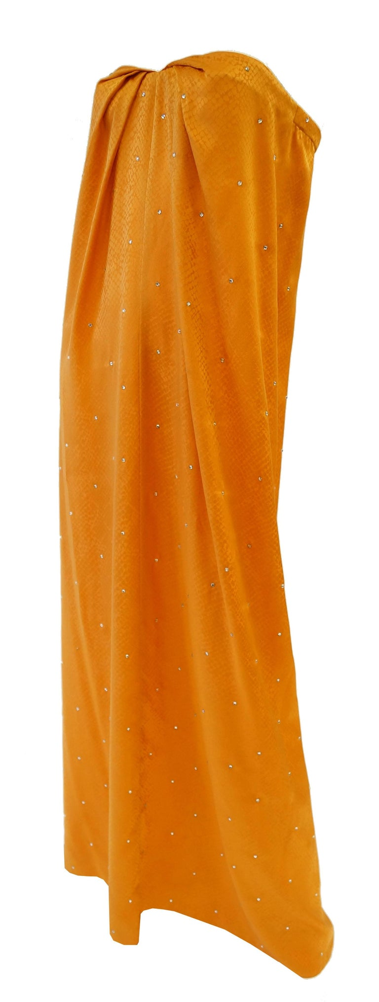 1980's Holly's Harp Silk Tangerine Snake Print and Rhinestone Evening Dress In Excellent Condition For Sale In Houston, TX
