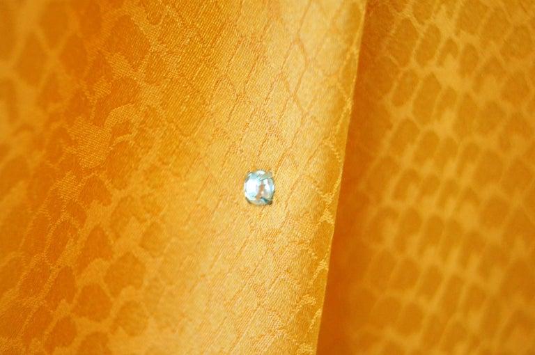 Orange 1980's Holly's Harp Silk Tangerine Snake Print and Rhinestone Evening Dress For Sale