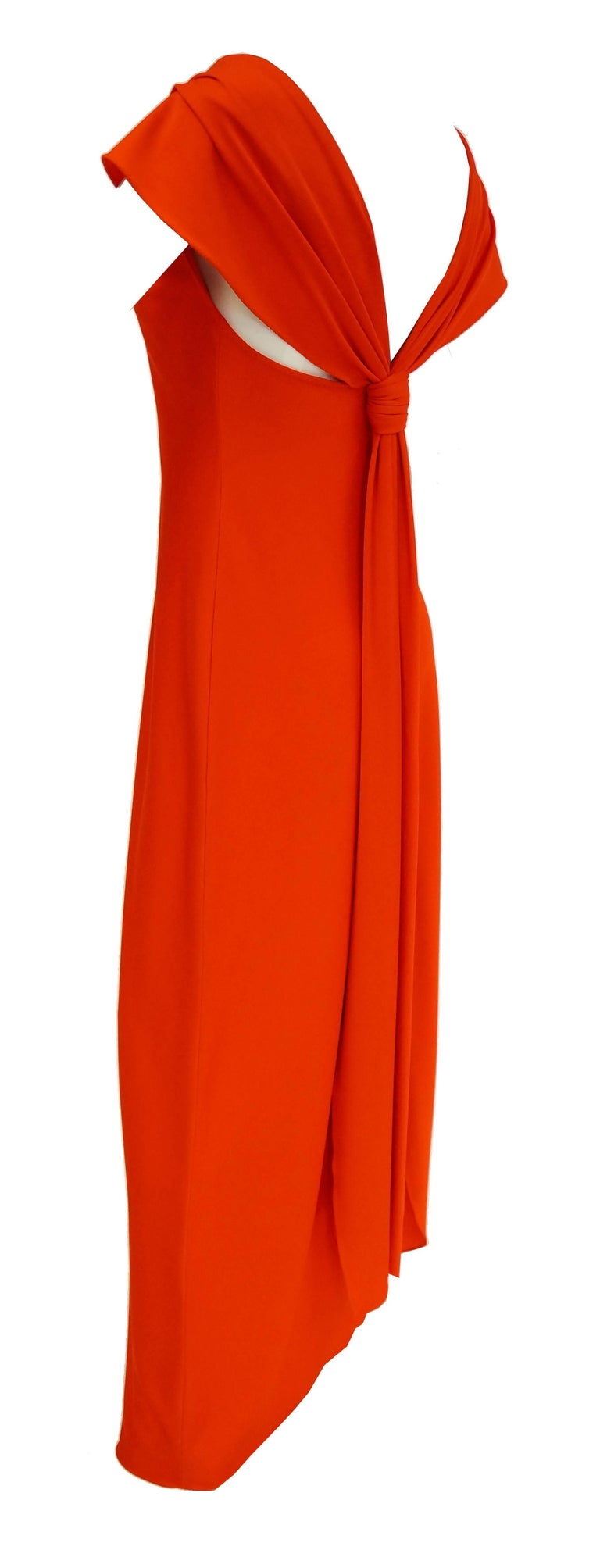 1970s Stephen Burrows Red Drape Back Evening Dress 3