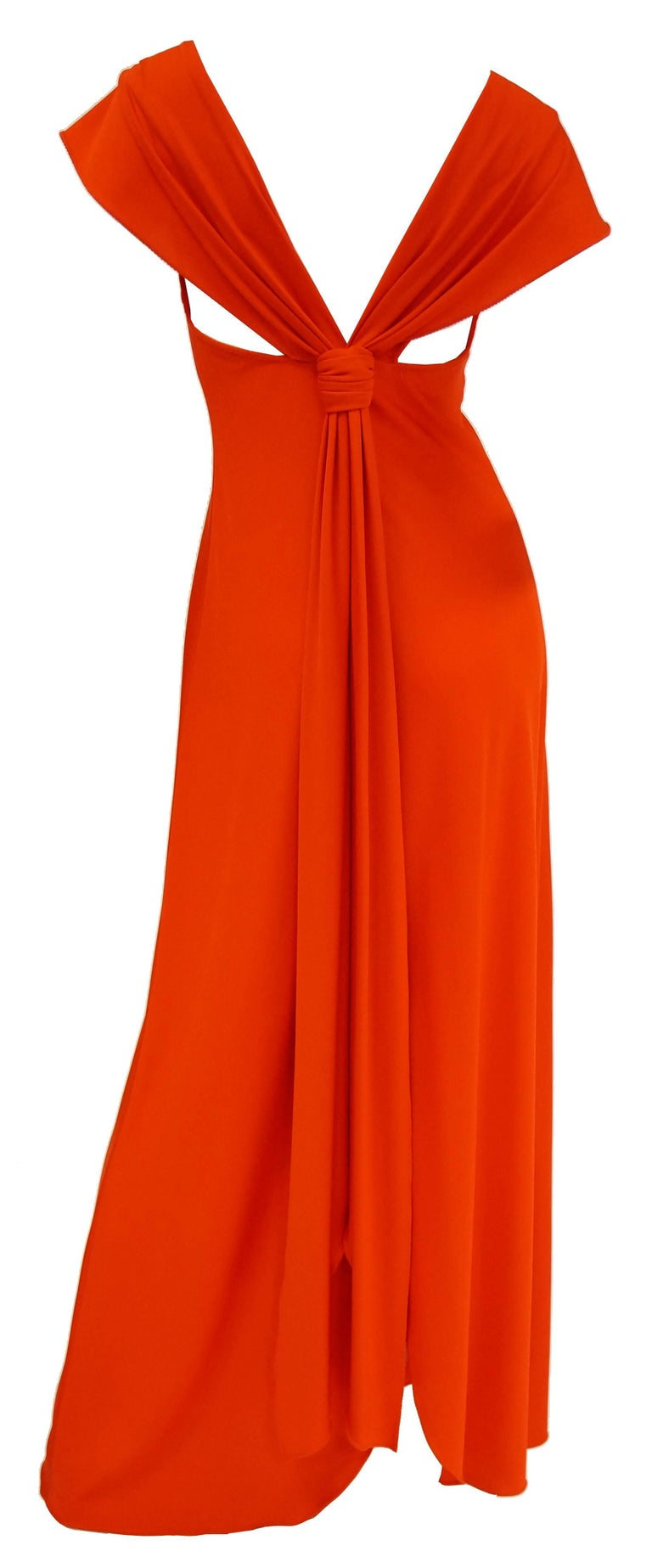 1970s Stephen Burrows Red Drape Back Evening Dress 4