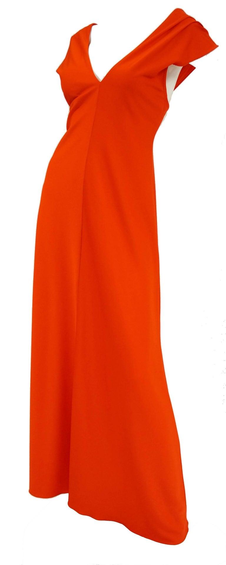 1970s Stephen Burrows Red Drape Back Evening Dress 2