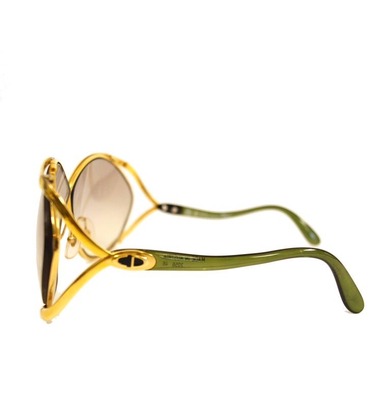 Beige 1980s Christian Dior Signature Apple Green Butterfly Sunglasses Model 2056