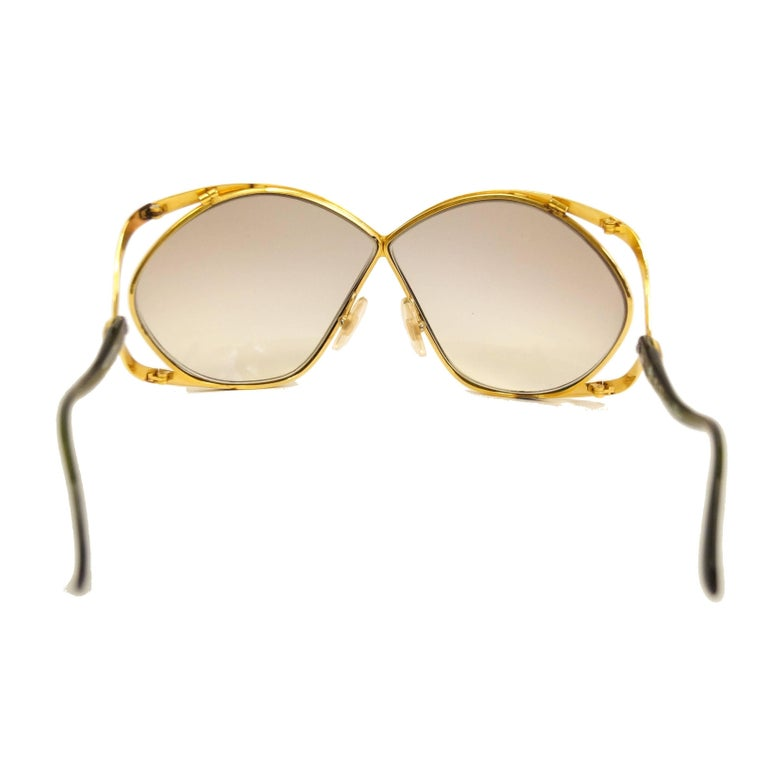 1980s Christian Dior Signature Apple Green Butterfly Sunglasses Model 2056 In Good Condition In Houston, TX