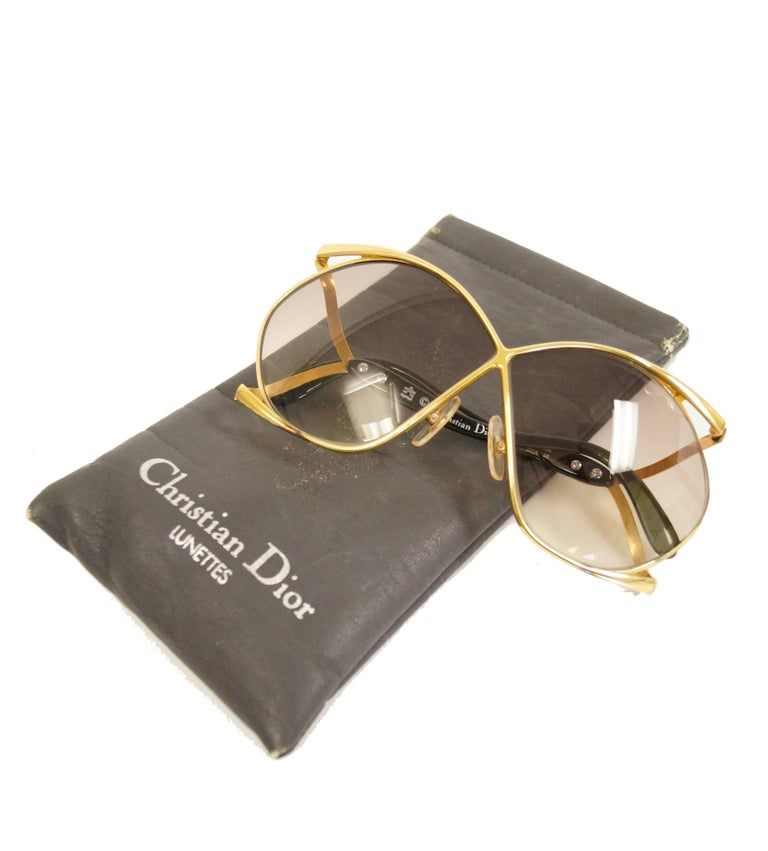 1980s Christian Dior Signature Apple Green Butterfly Sunglasses Model 2056 2