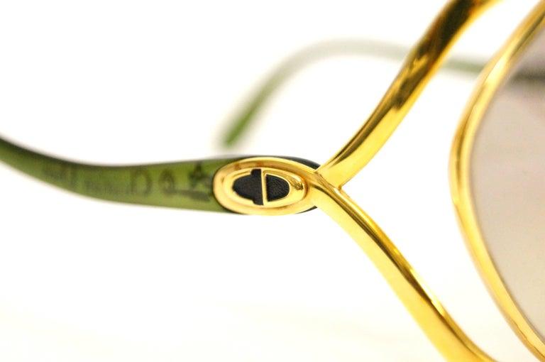 Women's 1980s Christian Dior Signature Apple Green Butterfly Sunglasses Model 2056