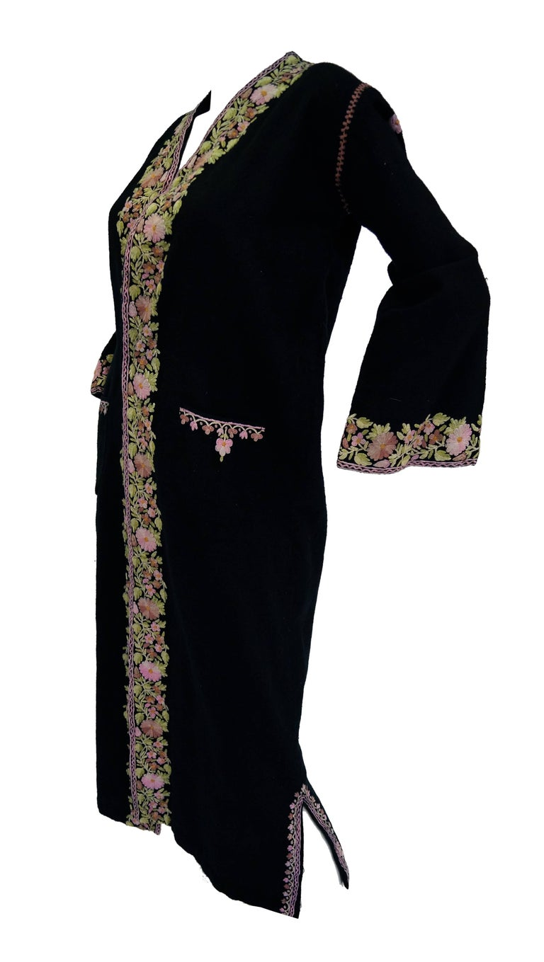 Women's Vintage Kashmiri Crewel Embroidered Wool Coat  For Sale