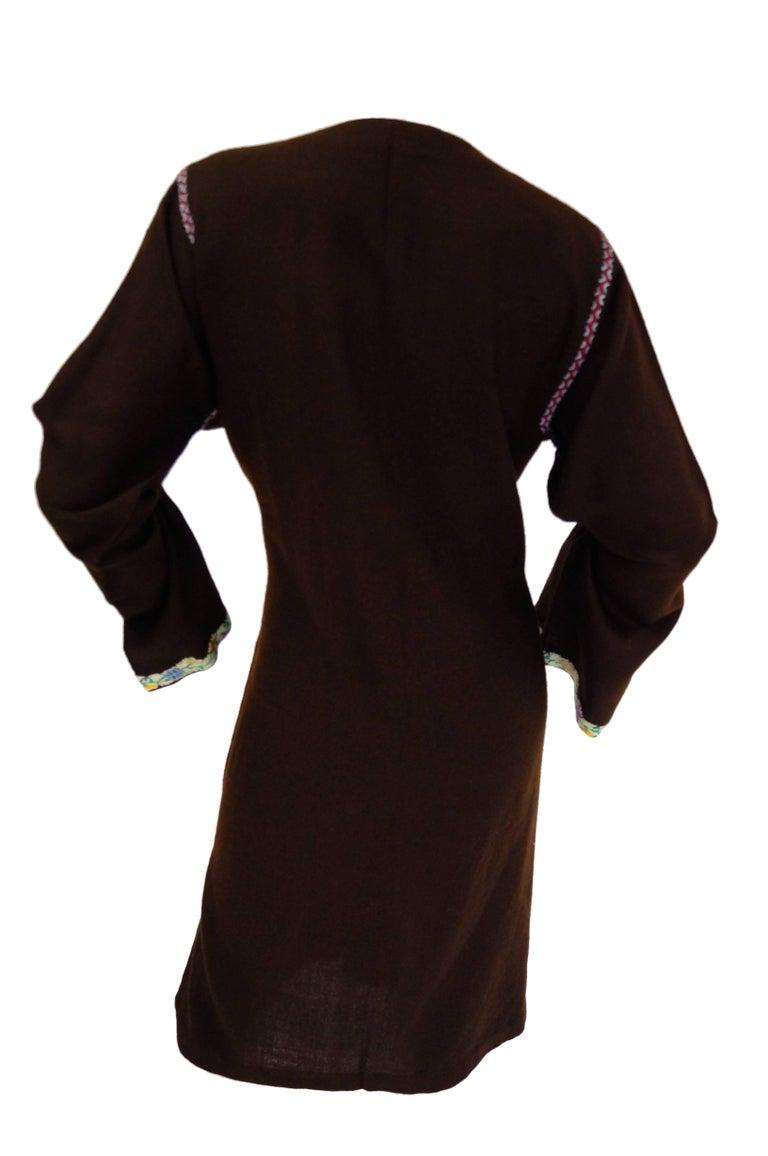 Vintage Kashmiri Crewel Floral Embroidered Wool Dress  For Sale 3