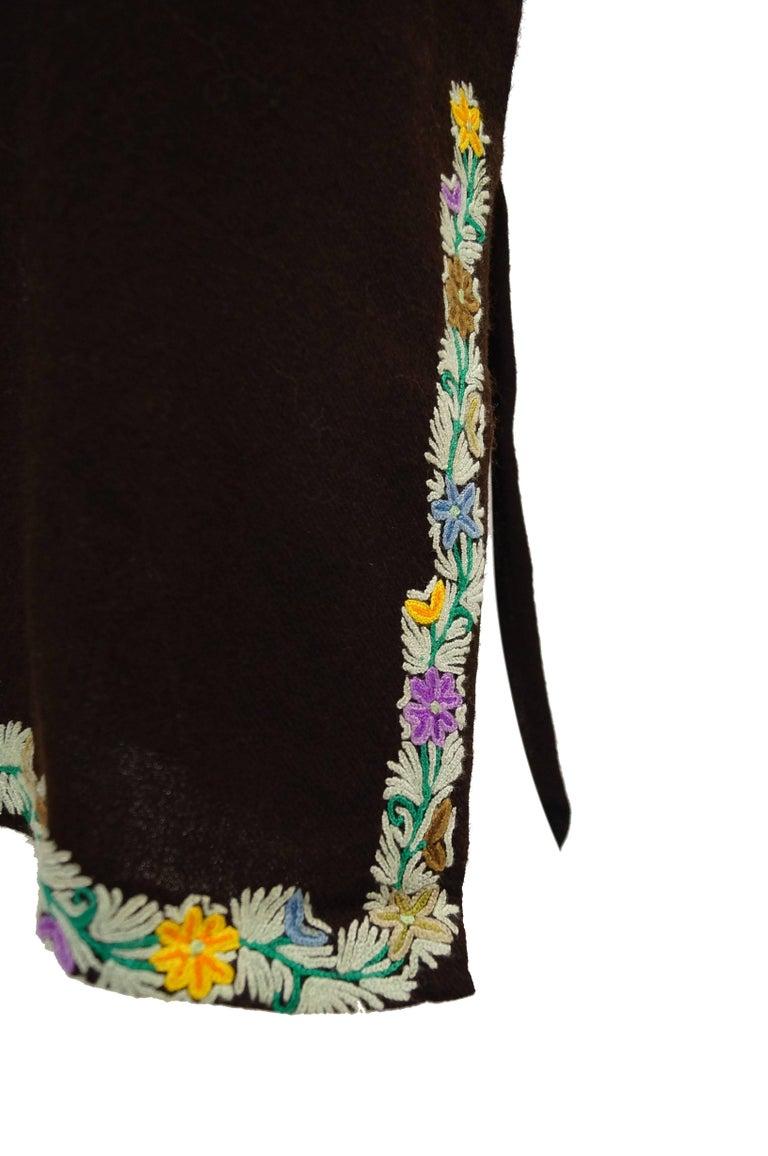 Vintage Kashmiri Crewel Floral Embroidered Wool Dress  For Sale 2