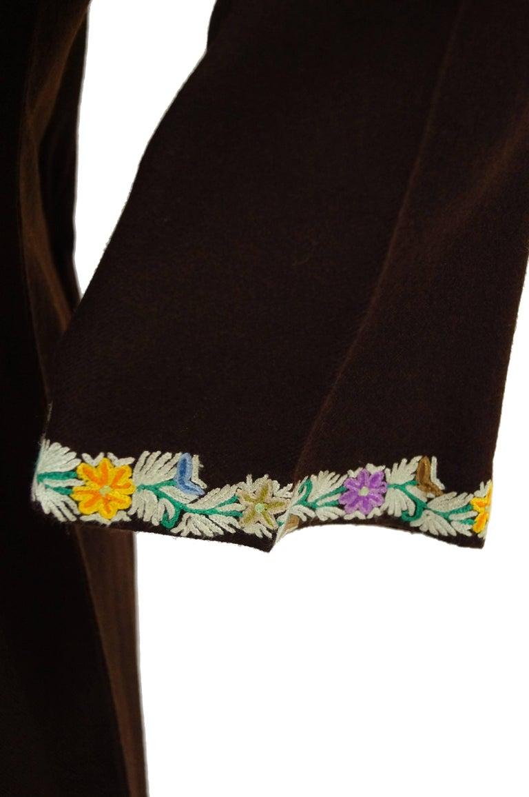 Women's Vintage Kashmiri Crewel Floral Embroidered Wool Dress  For Sale