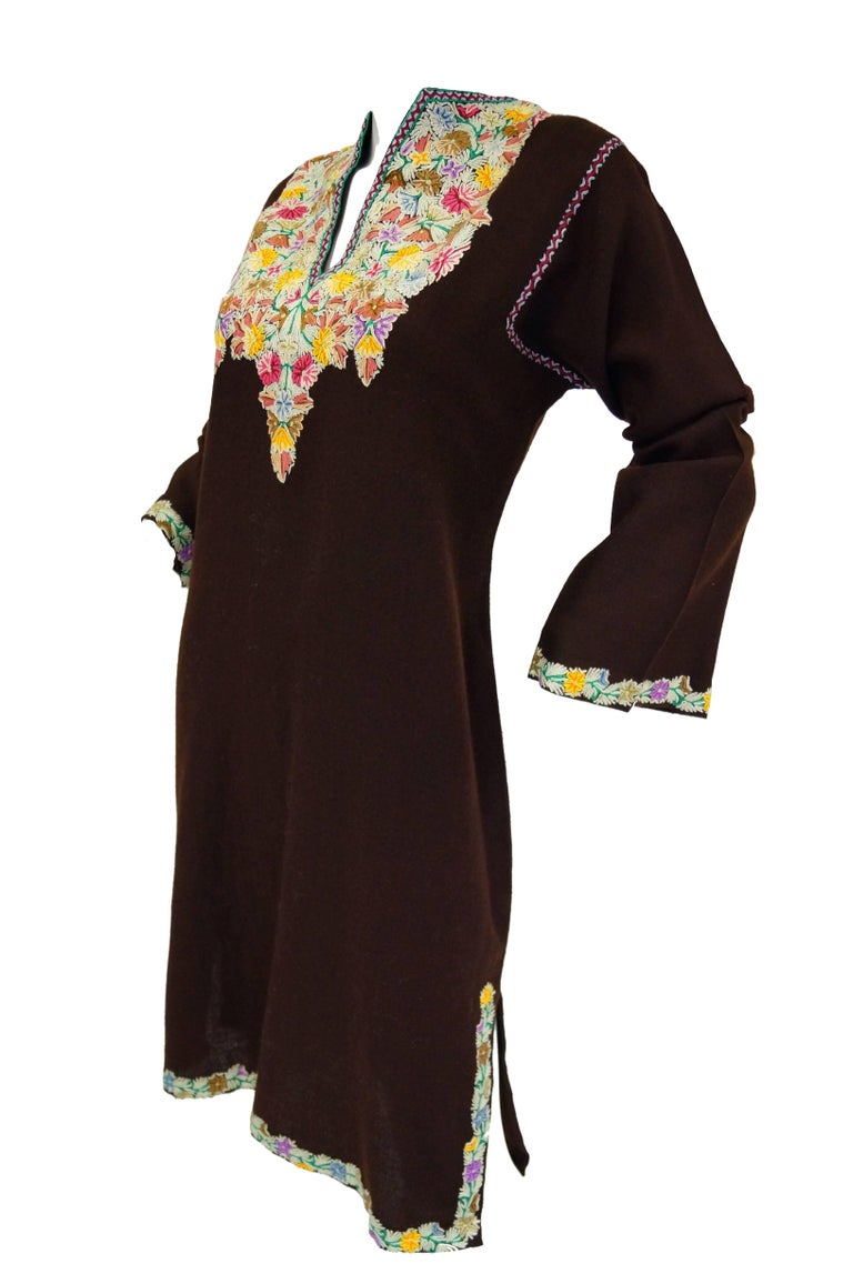 Vintage Kashmiri Crewel Floral Embroidered Wool Dress  In Excellent Condition For Sale In Houston, TX