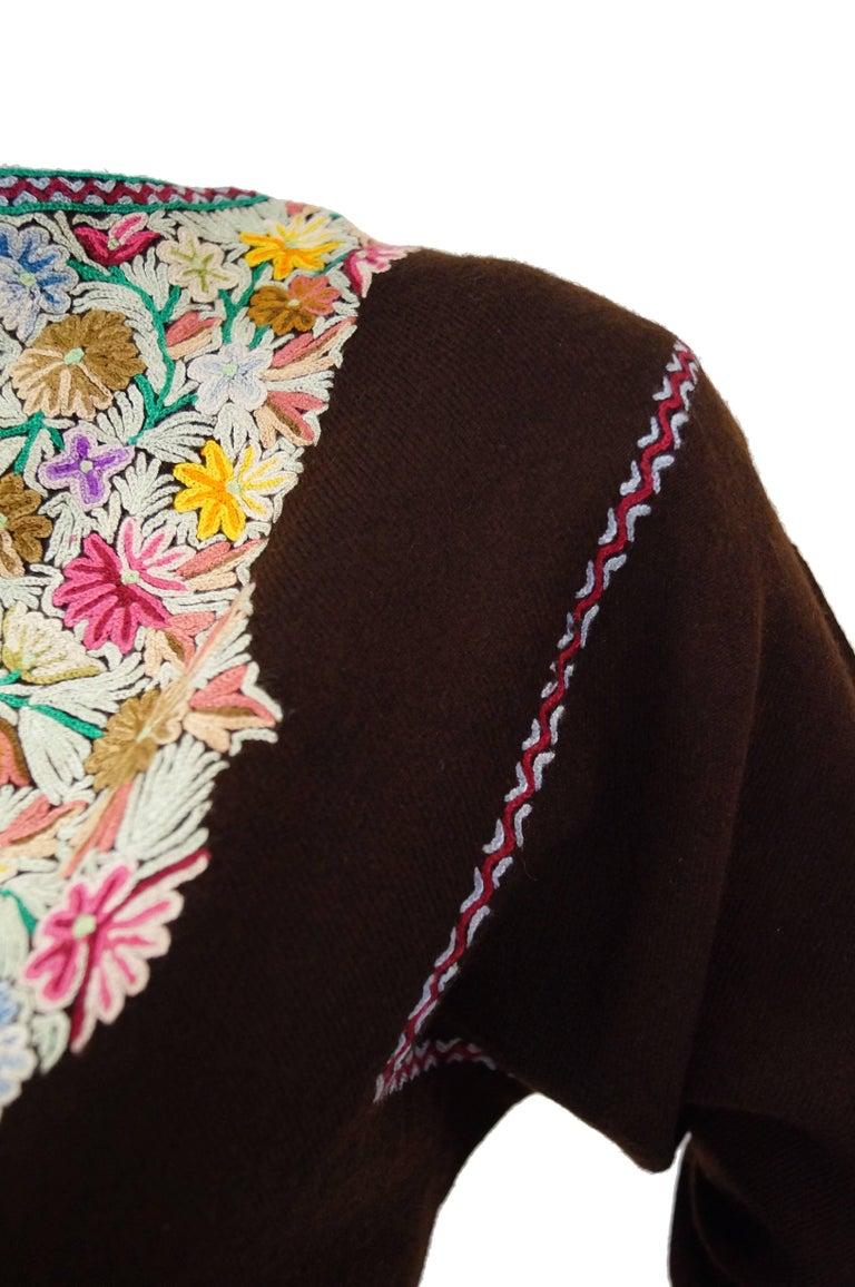 Vintage Kashmiri Crewel Floral Embroidered Wool Dress  For Sale 1