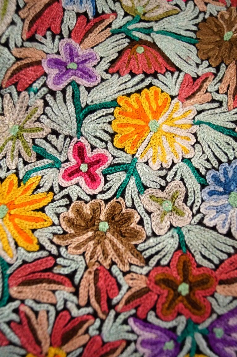 Black Vintage Kashmiri Crewel Floral Embroidered Wool Dress  For Sale