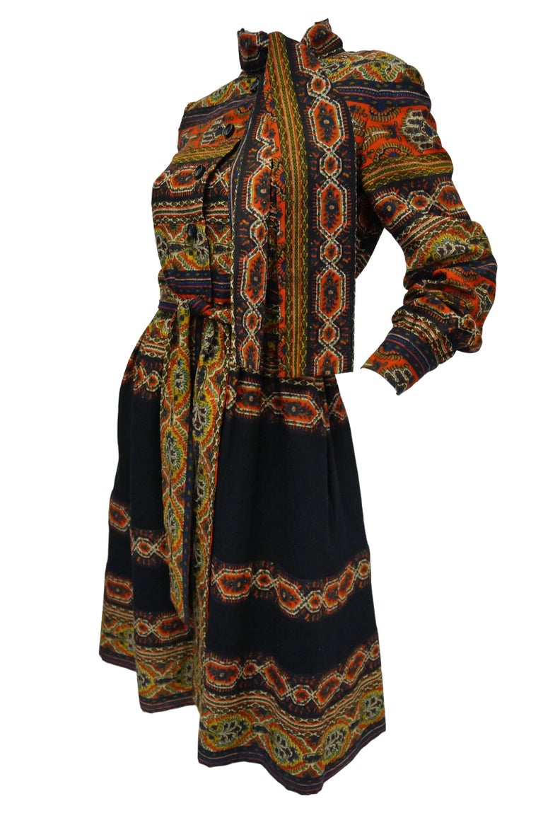 Black 1960s Oscar de la Renta Ethnic Print Wool Dress For Sale