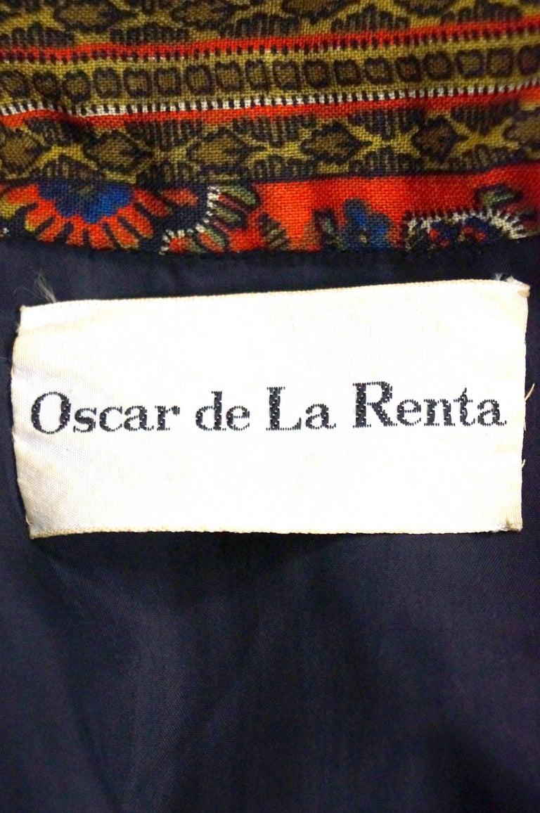 Women's or Men's 1960s Oscar de la Renta Ethnic Print Wool Dress For Sale