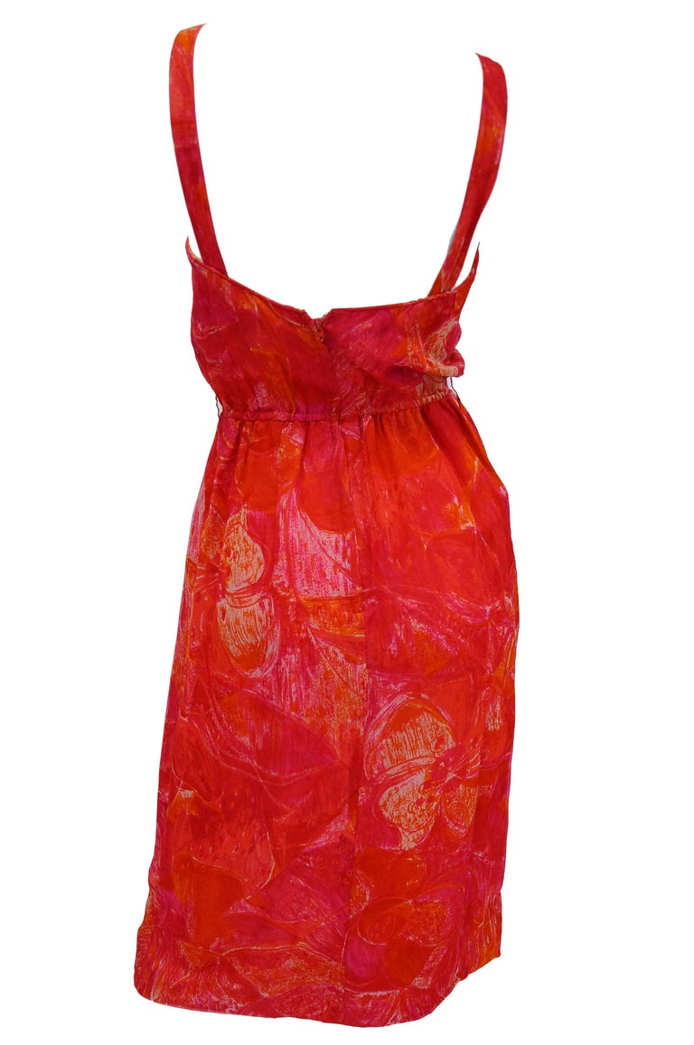 1960s Pierre Cardin Cerise Silk Dress and Cape In Excellent Condition For Sale In Houston, TX