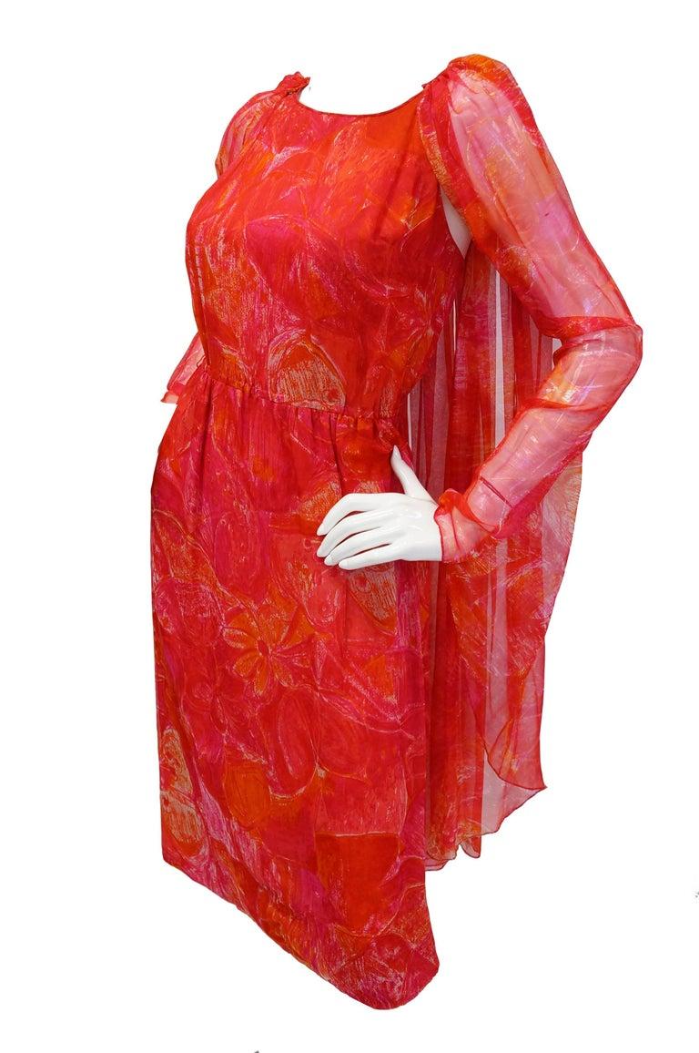 1960s Pierre Cardin Cerise Silk Dress and Cape For Sale 2